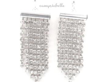 Silver Diamante Chandelier Earrings-Rhinestone Earrings- Diamante Jewellery- Silver Chandelier Earrings- Handmade in UK - by Campsiebella