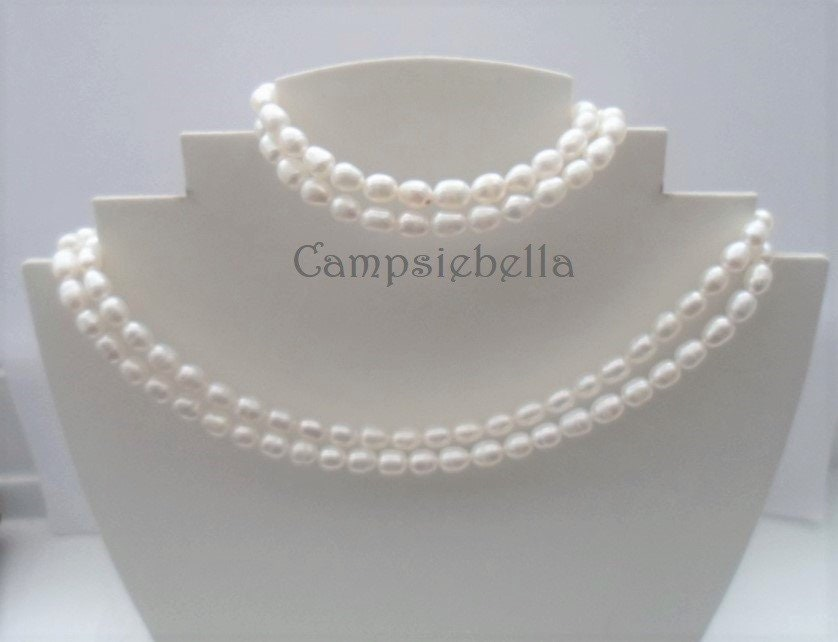 Wedding Freshwater Pearl Set White 6-7mm Freshwater Rice  ae14ae3ea