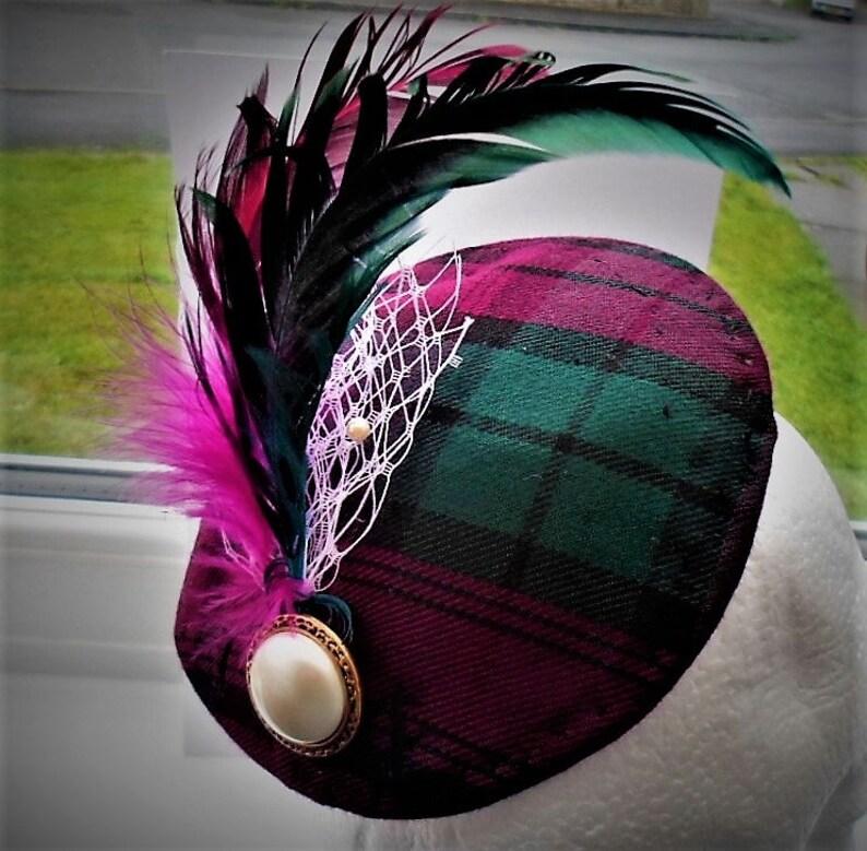 61778af9 Burgundy & Green Fascinator Tartan plaid Hat Rooster | Etsy