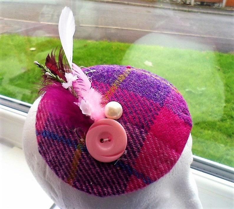 1b1a6680 Harris Tweed Hat Deep Pink Tartan Plaid Wedding Hatinator | Etsy