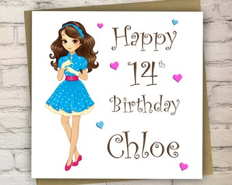 Personalised Birthday Card For Teenager Cards Girls Teenage Daughter Sister Cousin 13 14 15 16 17 Free UK Shipping