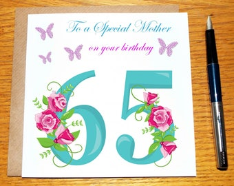 Birthday Card For Mother Mammy Mummy Mum Daughter Grandmother 65 70 80 100 Floral Personalised