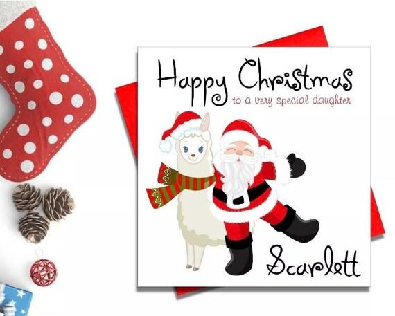 Llama Personalised Christmas Card Boys Girls Son Daughter Grandchild  ANY NAME