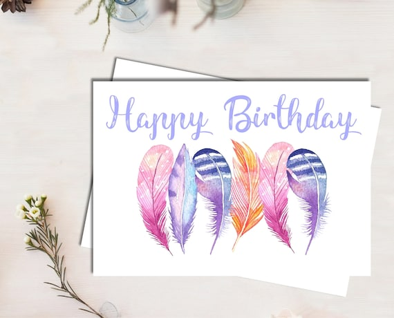Birthday Card For Her Dancing Feathers Watercolour Greeting
