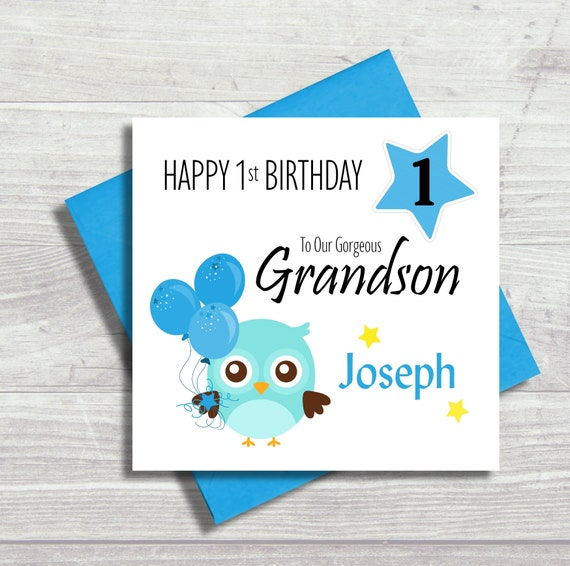First Birthday Card, Personalised, Grandson, Son, Brother, Nephew, 1st, Any  Relation