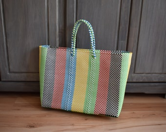 woven Mexican Handycraft bag handwoven with plastic Wholesale TOO! * Sending cost on description MEDIUM Lunchbox bag