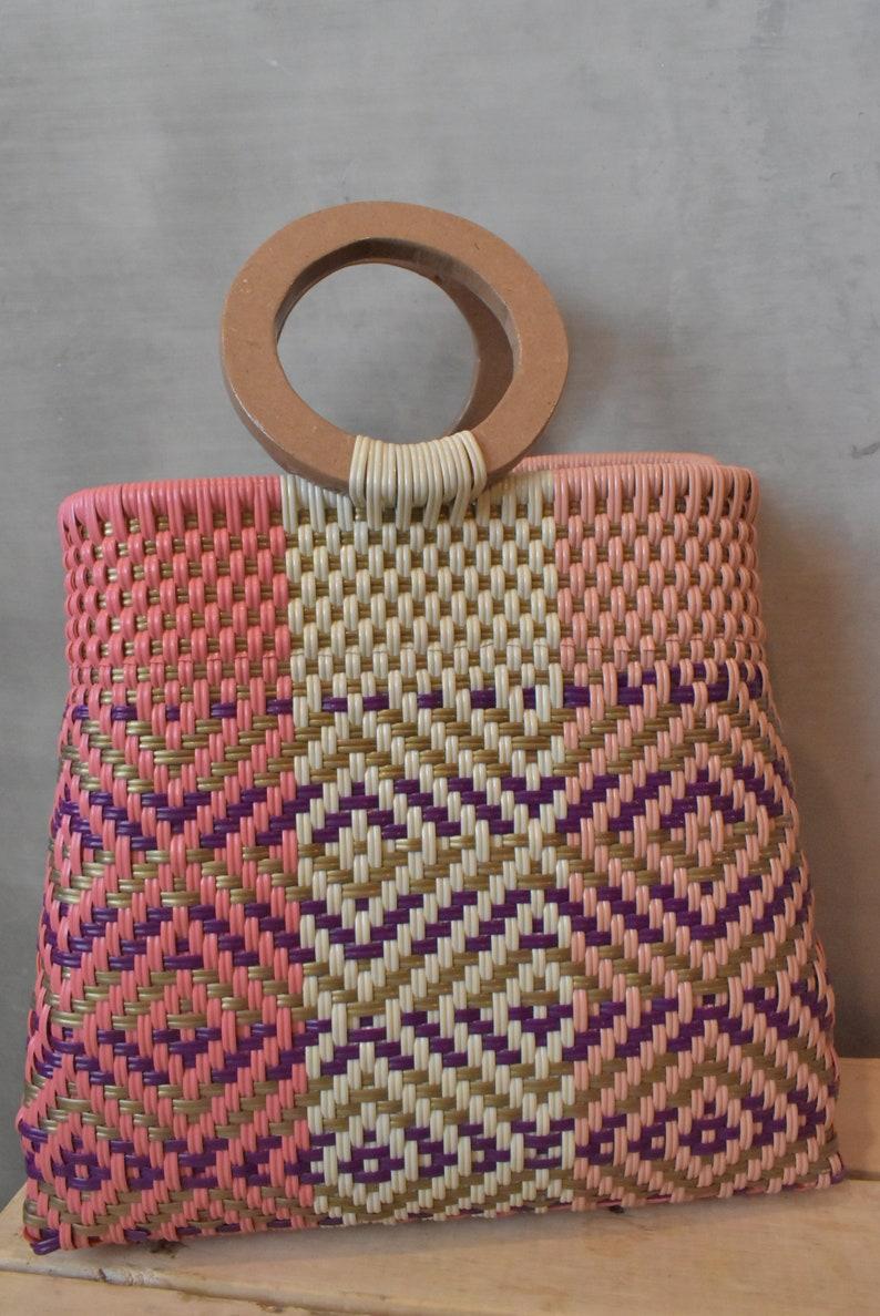 Mexican Handycraft bag Wholesale TOO! Medium bag handwoven with plastic woven * Sending cost on description