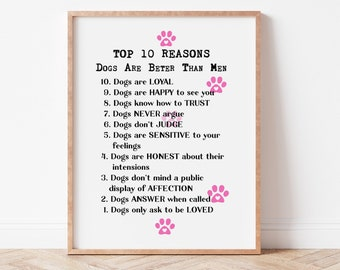 Top 10 Reasons DOGS are better than Men, Dog Quote, Puppy Love, Printable Wall Art, Home Decor, Print, Digital Download, Funny Gift, DIY