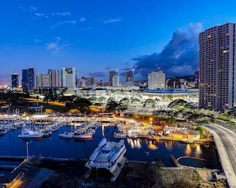 Honolulu Timelapse, Hawaii Photography, Wanderlust Decor, Oahu, Hawaii, Kakaako, Serenity, Home Decor, Wall Art, Hawaiian, Giclee Print