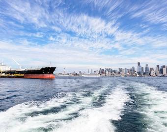 Sailing through Seattle Harbor, Washington State, PNW, Wanderlust Decor, Cityscape, Photography, Print, Home Decor, Wall Art, Giclee Print