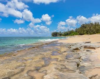 North Shore Oahu Beach, Hawaii Photography, Wanderlust Decor, Serenity, Print, Tropical, Hawaiian, Home Decor, Wall Art, Giclee Print, Art
