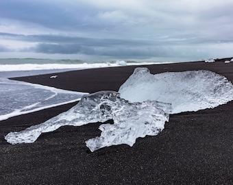 Diamond Beach, Iceland; Landscape Photography, Print, Wanderlust Decor, Home Decor, Wall Art, Icelandic, Giclee Print, Black Sand Beach