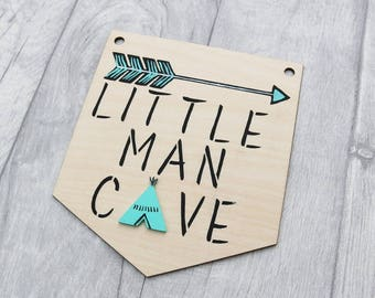 Little Man Cave Pennant, Little Man Cave Flag Bunting, Wall Hanging, Scandi, Black and Mint Nursery Decor, Flatlay Photo Prop Accessory