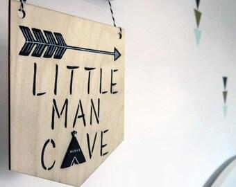 Little Man Cave Pennant, Little Man Cave Flag Bunting, Wall Hanging, Scandi, Monochrome Nursery Decor, Black and White Nursery