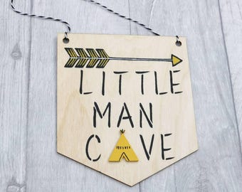 Little Man Cave Pennant, Little Man Cave Flag Bunting, Wall Hanging, Scandi, Nursery Decor, Black and Yellow Nursery