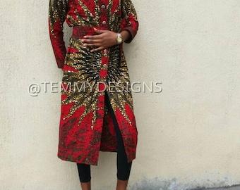 Burning bush African shirt dress, African shirt dress, African clothing, women clothing, African dress, Ankara dress