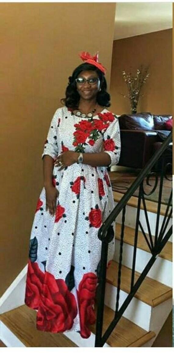 Rose afrikanischen Maxi-Kleid für Frauen / afrikanischen Kleid | Etsy