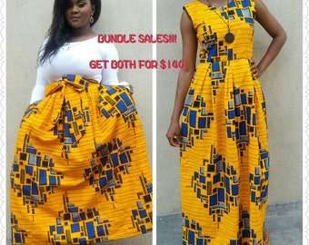 African maxi dress and maxi skirt for women , African print, African clothing, women clothing, Ankara fabric, Orange and blue