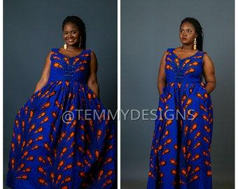 Sleeveless African maxi dress for women , African dress, Ankara fabric, African clothing, women clothing, African print, prom dress