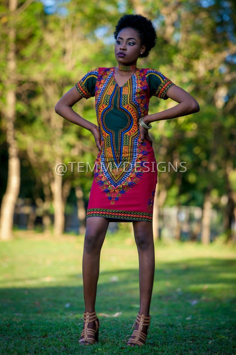ce70b20d3746 African Dashiki mini dress   African print dress for women