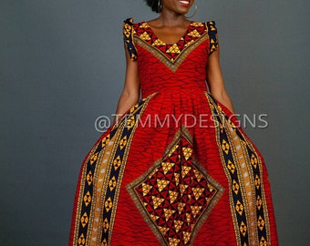 Red African maxi dress with pockets for women, Ankara fabric, African clothing, women clothing,African dress, African print, maxi dress, Red