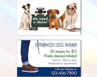 Dog walker card etsy dog walker business card 35x2 business card full color two sided editable business card customizable dog walker business card colourmoves