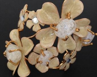 Vintage large enamel flower cuff.