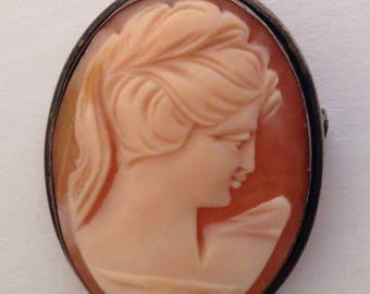 vintage 1930s cameo pendant brooch, maker's mark .925 MOM