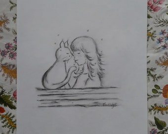 The girl and her cat.  Original A3 poster