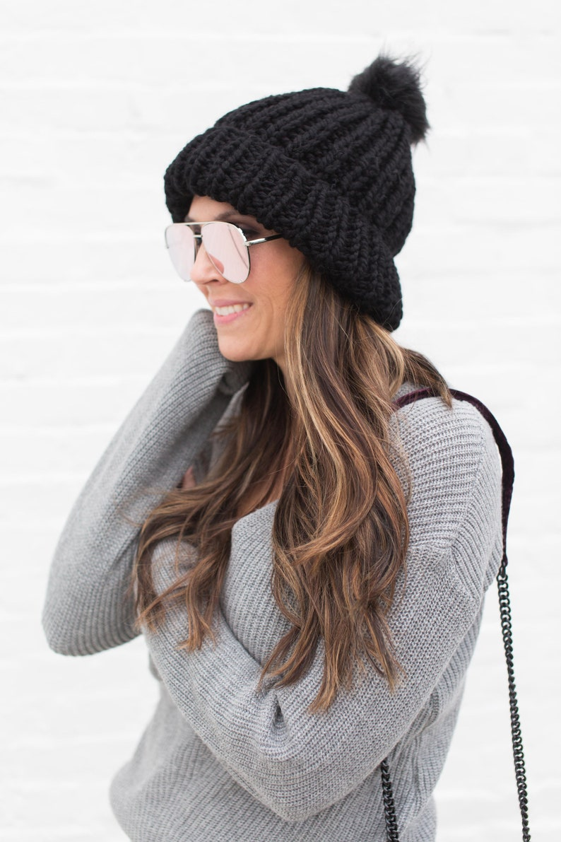 49851bdb246 Reversible Chunky Knit Hat The JACKSON Beanie in Black