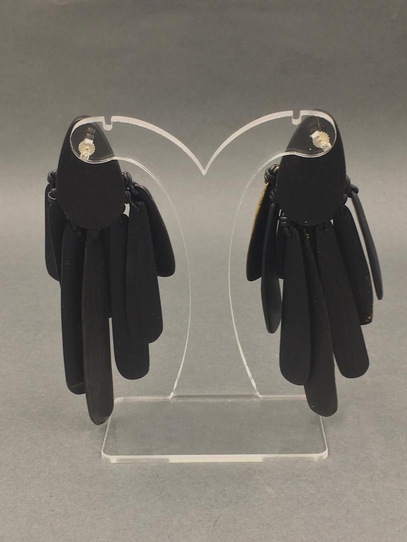 Isidore Domingo West African Monies Inspired Ebony Gold-leaf Tassel Earrings