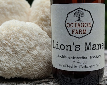 Lion's Mane Tincture double extraction Vermont mushroom natural memory brain medicinal dual extract nerve supplement herbal cognition fungus