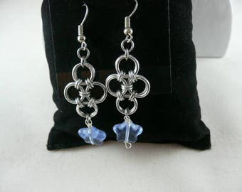 Delicate silver and blue earrings