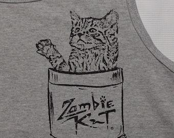 Zombie Kat - Kitten in Pocket - Tank Top - Sports Gray