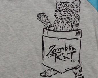 Zombie Kat - Kitten in Pocket - Baseball Jersey (Heather White/Tahiti)
