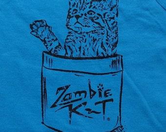 Zombie Kat - Kitten in Pocket - Ladies' Tank Top - Carribean Blue