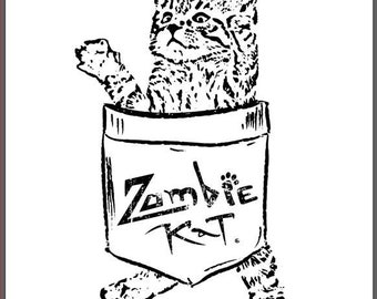 Zombie Kat - Kitten in Pocket - Vinyl Bumper Sticker for Car