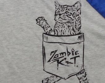 Zombie Kat - Kitten in Pocket - Baseball Jersey (Heather White/Vintage Royal)