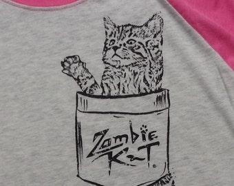 Zombie Kat - Kitten in Pocket - Baseball Jersey (Heather White/Vintage Pink)
