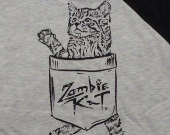 Zombie Kat - Kitten in Pocket - Baseball Jersey (Heather White/Black)