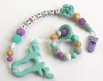 Personalized Teething Set Silicone Teether Baby Teething toy Turquoise Baby  jewelry pacifier clip deer 6f2d65feb