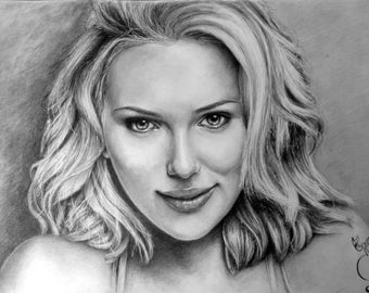 Commission custom-made, A5, realistic portrait in graphite from photo.