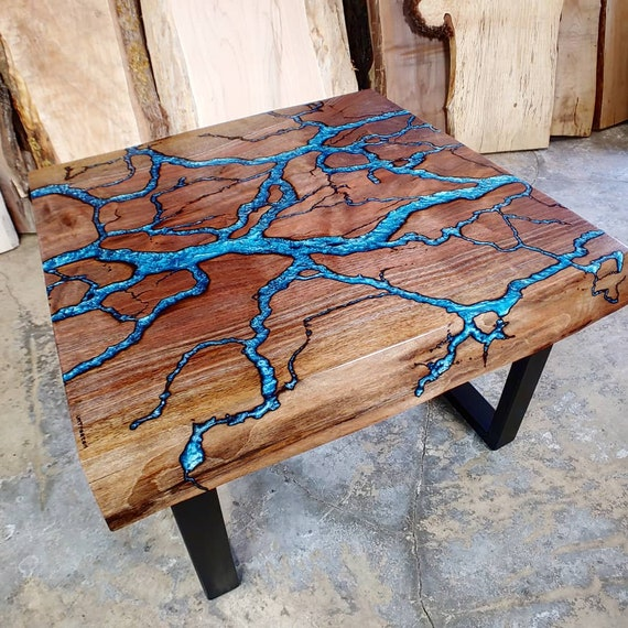Fractal River Table Square Live Edge Coffee Table Epoxy Etsy