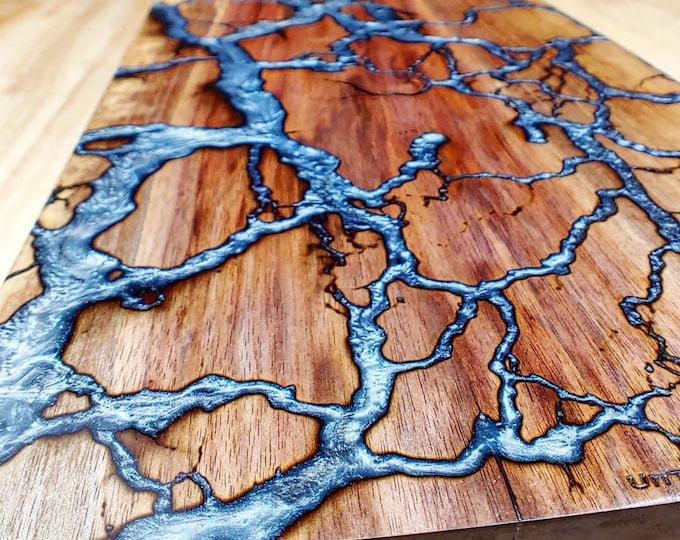 Featured listing image: Walnut Fractal River Shelf or Mantel - Rectangular - Large - Live Edge - Epoxy River - Fractal Burning