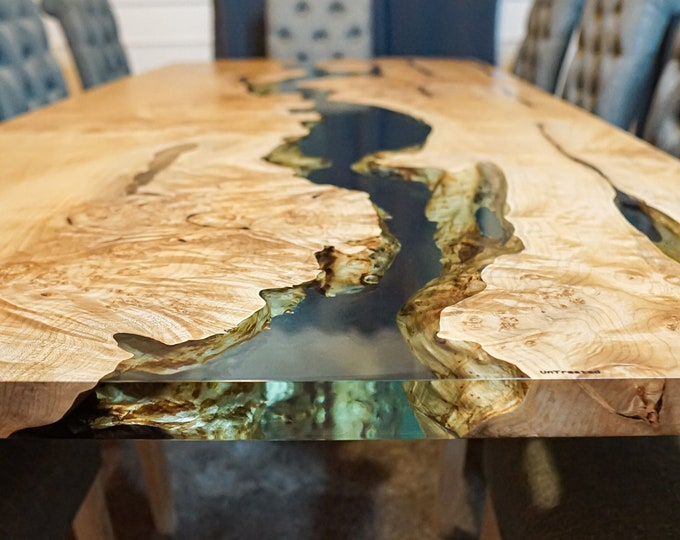 Featured listing image: Figured Maple Burls River Dining Table