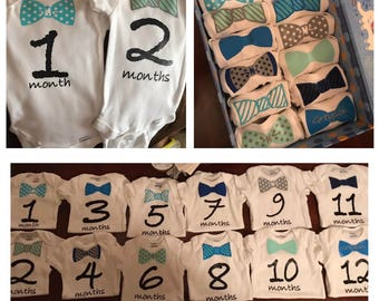 0b6f36c9b Baby boy month milestone onesies / monthly onesies / baby shower gift / bow  tie / 1 - 12 months
