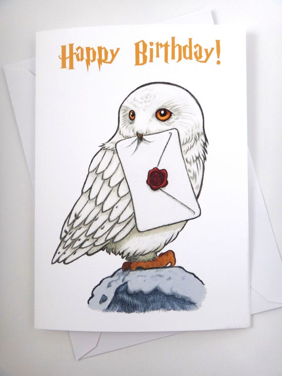 harry potter card hedwig card birthday card fun card  etsy