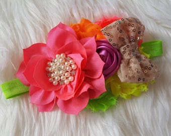 Neon and gold baby headband, couture headband, baby girl headband