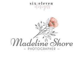 327 - Madeline Shore, LOGO Premade Logo Design, Blog Header, Blog Title, Business, Blogger, Floral, Flower, Grey, Gray, Heading, Feminine,