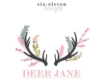 280 - Deer Jane, LOGO Premade Logo Design, Blog Header, Blog Title, Business, Boutique, Blogger, Entrepreneur, Antlers, Deer, Floral Flowers